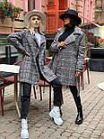 Женское утепленное пальто на запах под пояс в клетку (р. 42-46) 5802303, фото 4