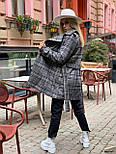 Женское утепленное пальто на запах под пояс в клетку (р. 42-46) 5802303, фото 7