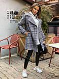 Женское утепленное пальто на запах под пояс в клетку (р. 42-46) 5802303, фото 3
