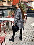 Женское утепленное пальто на запах под пояс в клетку (р. 42-46) 5802303, фото 9