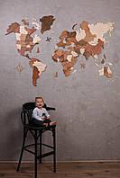 Багатошарова дерев'яна карта світу на стіну