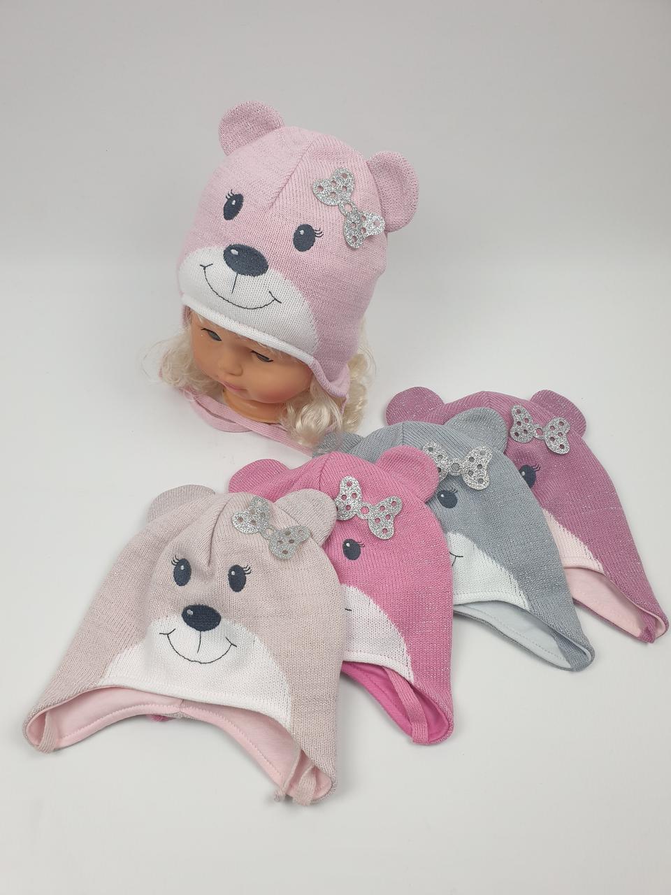 Дитячі демісезонні вязані шапки для дівчаток оптом, р. 46-48, Grans (ku467)