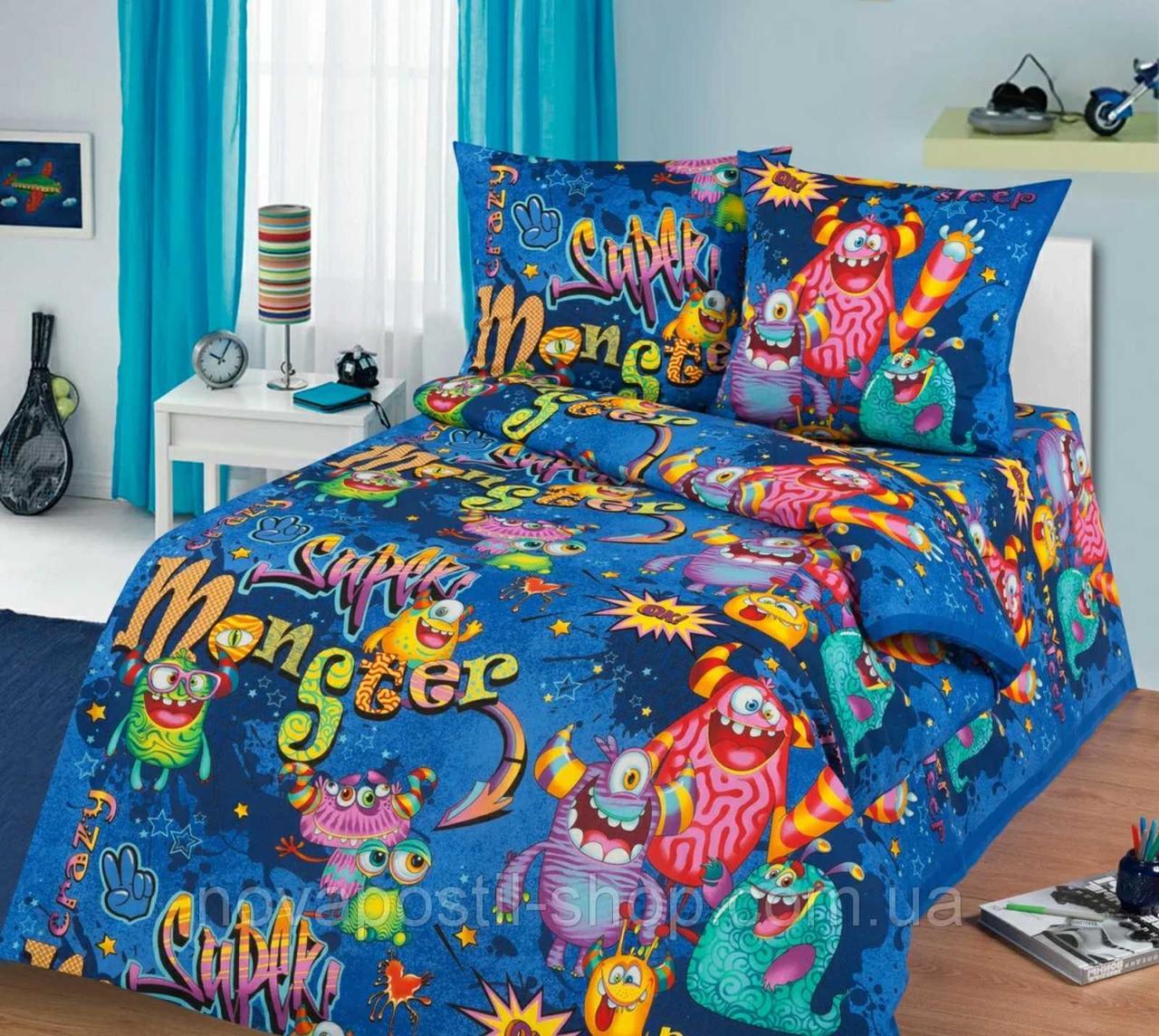 Комплект детского постельного полуторного белья Супер Монстры, Бязь Люкс