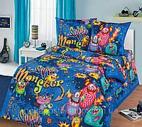 Комплект детского постельного полуторного белья Супер Монстры, Бязь Люкс, фото 1
