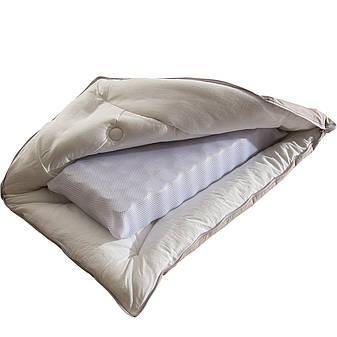 Ортопедическая Подушка для сна с внутренним пружинным блоком 50х70 чехол 100% хлопок Беж Homeline, фото 2