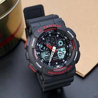 Мужские наручные спортивные часы Casio G-Shock GA-100 Black-Red