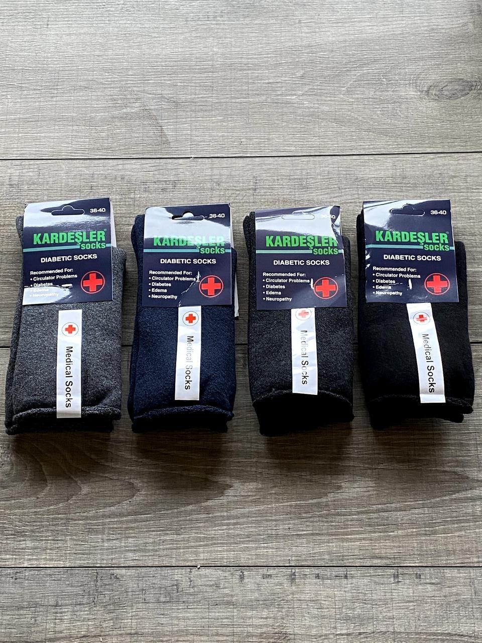 Жіночі носки без резинки шкарпетки махрові Kardesler для діабетиків 36-40 мікс кольорів