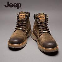 Мужские ботинки JEEP Martin , зимняя обувь в британском стиле, теплая осенняя обувь , фото 1