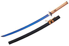 Катана самурайський меч з синім клинком + підставка в комплекті