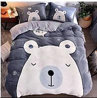 Комплект постельного белья махра, Евро размер,Белый медведь,цвет голубой