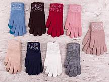 """Сенсорные Перчатки женские Шерсть от """"Корона"""" Оптом 12 пар разные цвета"""