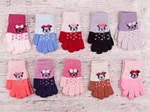 """Перчатки для девочки """"Корона"""" разные цвета 12 пар"""