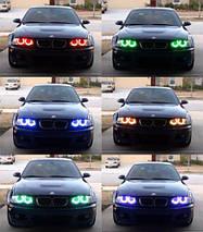 Ангельські очки (4*127.5 мм ) для BMW E39 рестайлінг (2001-03) LED Cotton RGB, фото 2