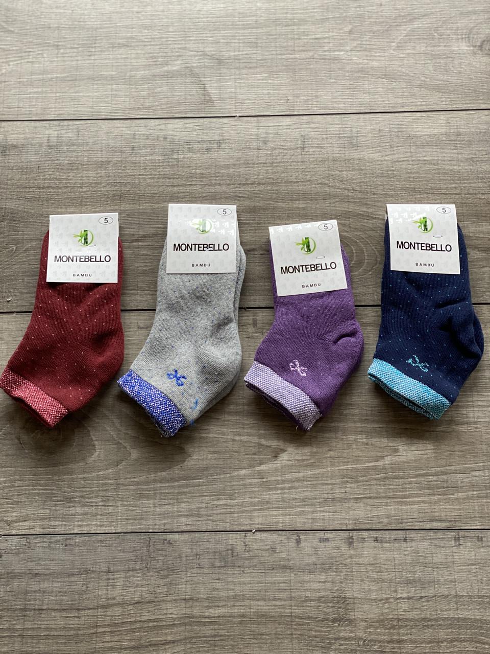 Дитячі шкарпетки махрові носки дівчачі Montebello люрекс з бантиком розмір 5,7,9,11