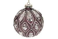 Ялинкова куля з рельєфом і декором з гліттера, 10см, колір - марсала
