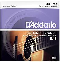Струны для акустической гитары D`Addario EJ13 80/20 BRONZE CUSTOM LIGHT (11-52)