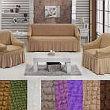 Натяжные универсальные чехлы съемные накидки на диван и кресла Чехлы для мягкой мебели Серый с оборкой, фото 4