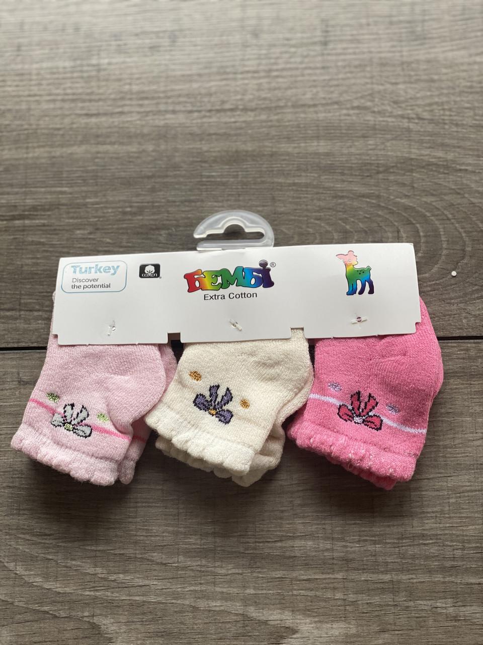 Дитячі носки Бембі шкарпетки махрові для дівчат бантик розмір 0