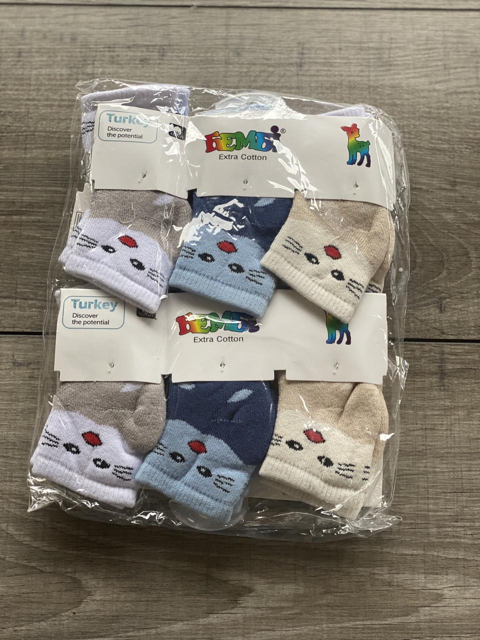 Шкарпетки Бембі дитячі махрові носки для хлопчиків котики розмір 0