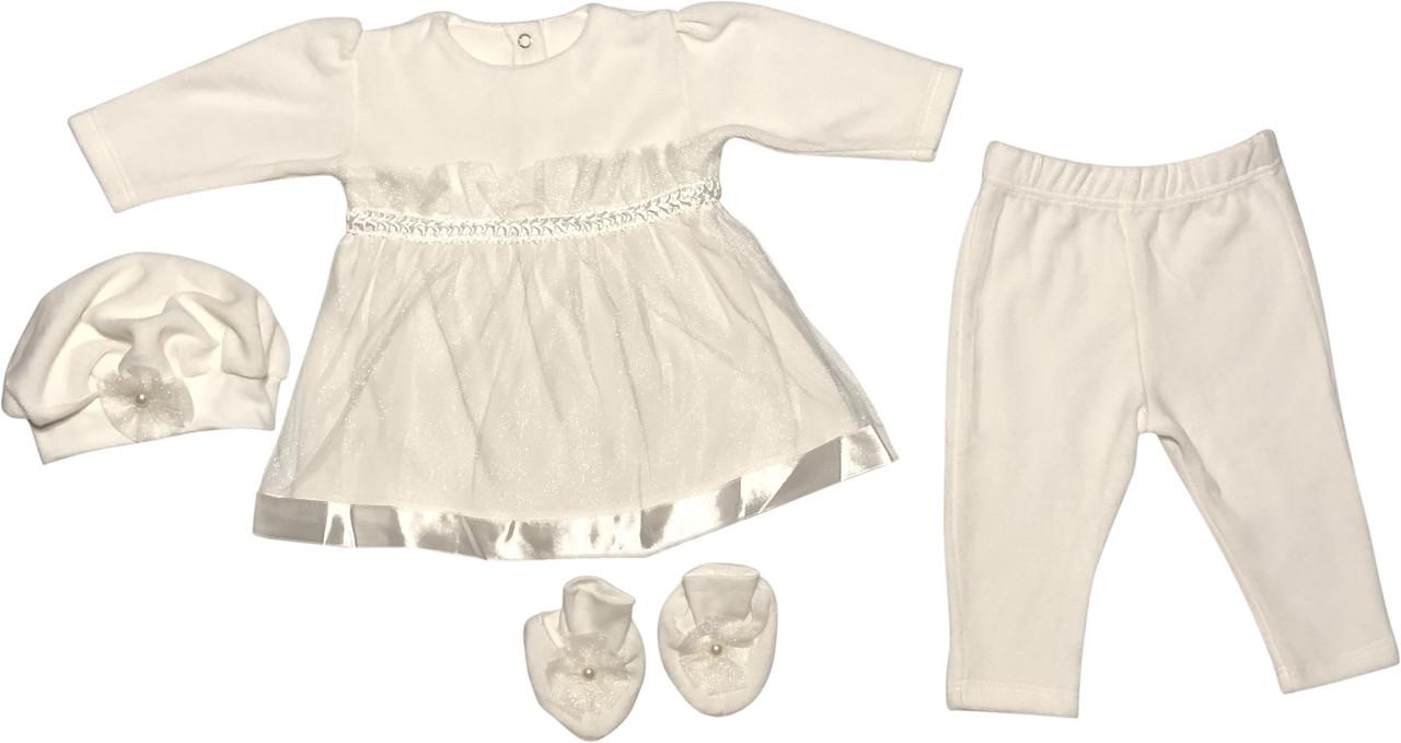 Крестильное платье костюм на девочку рост 68 3-6 мес костюмчик одежда для крещения крестин велюровое молочное