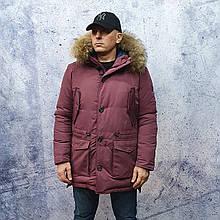 Парку чоловіча зимова з хутром Vivacana 67AW729M. Аляска. Парку бордова.
