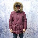 Парку чоловіча зимова з хутром Vivacana 67AW729M. Аляска. Парку бордова., фото 6