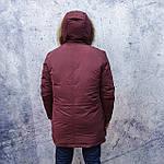 Парку чоловіча зимова з хутром Vivacana 67AW729M. Аляска. Парку бордова., фото 7