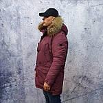 Парку чоловіча зимова з хутром Vivacana 67AW729M. Аляска. Парку бордова., фото 3
