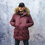 Парку чоловіча зимова з хутром Vivacana 67AW729M. Аляска. Парку бордова., фото 2