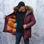 Парку чоловіча зимова з хутром Vivacana 67AW729M. Аляска. Парку бордова., фото 5
