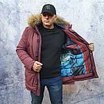 Парку чоловіча зимова з хутром Vivacana 67AW729M. Аляска. Парку бордова., фото 4