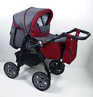 Детская универсальная коляска 2 в 1 Victoria Gold Viki Karina len Серо\красная
