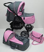 Детская универсальная коляска 2 в 1 Victoria Gold Viki Karina len Серо\розовая
