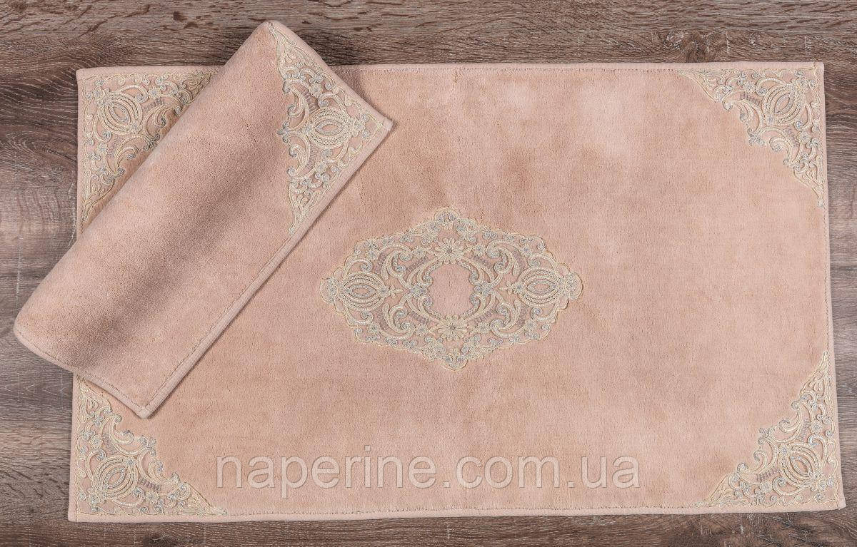 Набор ковриков люкс с кружевом для ванной комнаты Maco Cotton marlow pudra 2 предмета Турция лучшая цена