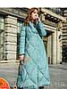 Жіночий пуховик в етнічному стилі,довга зимова куртка з принтом в стилі ретро 3кол
