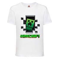 Футболка детская Майнкрафт Minecraft (MC-04) белая