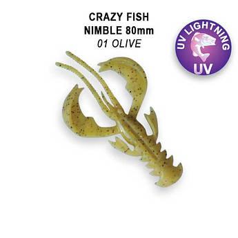 """Съедобный силикон Crazy Fish Nimble 3.2"""" 72-80-1-6-F кальмар"""