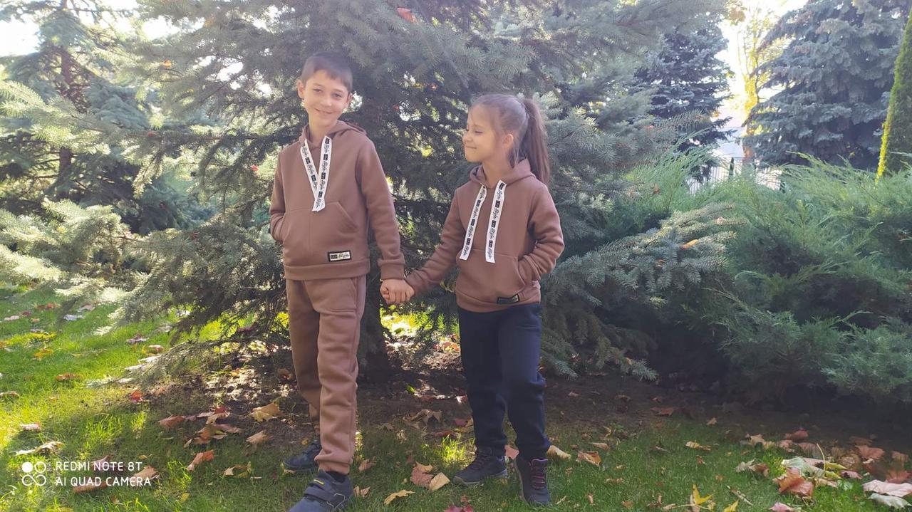 Детский  теплый спортивный  костюм трехнитка с начесом (мокко)