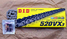 Мото цепь  DID520VX3 100 звеньев стальная  для мотоцикла DID 520VX3  - 100ZB замок  под заклепку