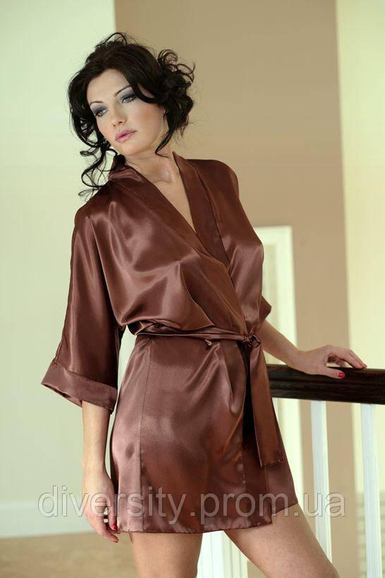 90 халат сатиновий коричневий DKaren (XL)