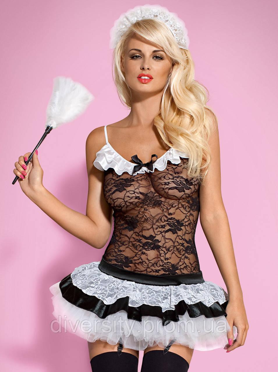 Housemaid костюм покоївки чорний Obsessive (L/XL)