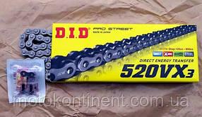 Мото цепь  DID520VX3 108 звена стальная  для мотоцикла DID 520VX3  - 108ZB замок  под заклепку