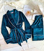 Бархатная женская пижама (S, M, L) Изумруд.