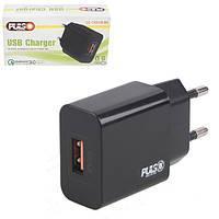 Мережевий зарядний пристрій PULSO 18W, 1 USB, QC3.0 (5V*3A/9V*2A/12V*1.5 A) (LC-14318 BK), фото 1