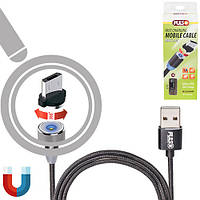 Кабель  магнитный PULSO USB - Micro USB 2,4А, 1m, black (только зарядка) (MC-2301M BK)