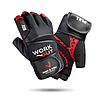 Перчатки для тяжелой атлетики и фитнеса с напульсником Мужские Черный/Красный w-1050L