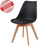 Пластиковий стілець P-01 чорний на букових ніжках Vetro Mebel, фото 2