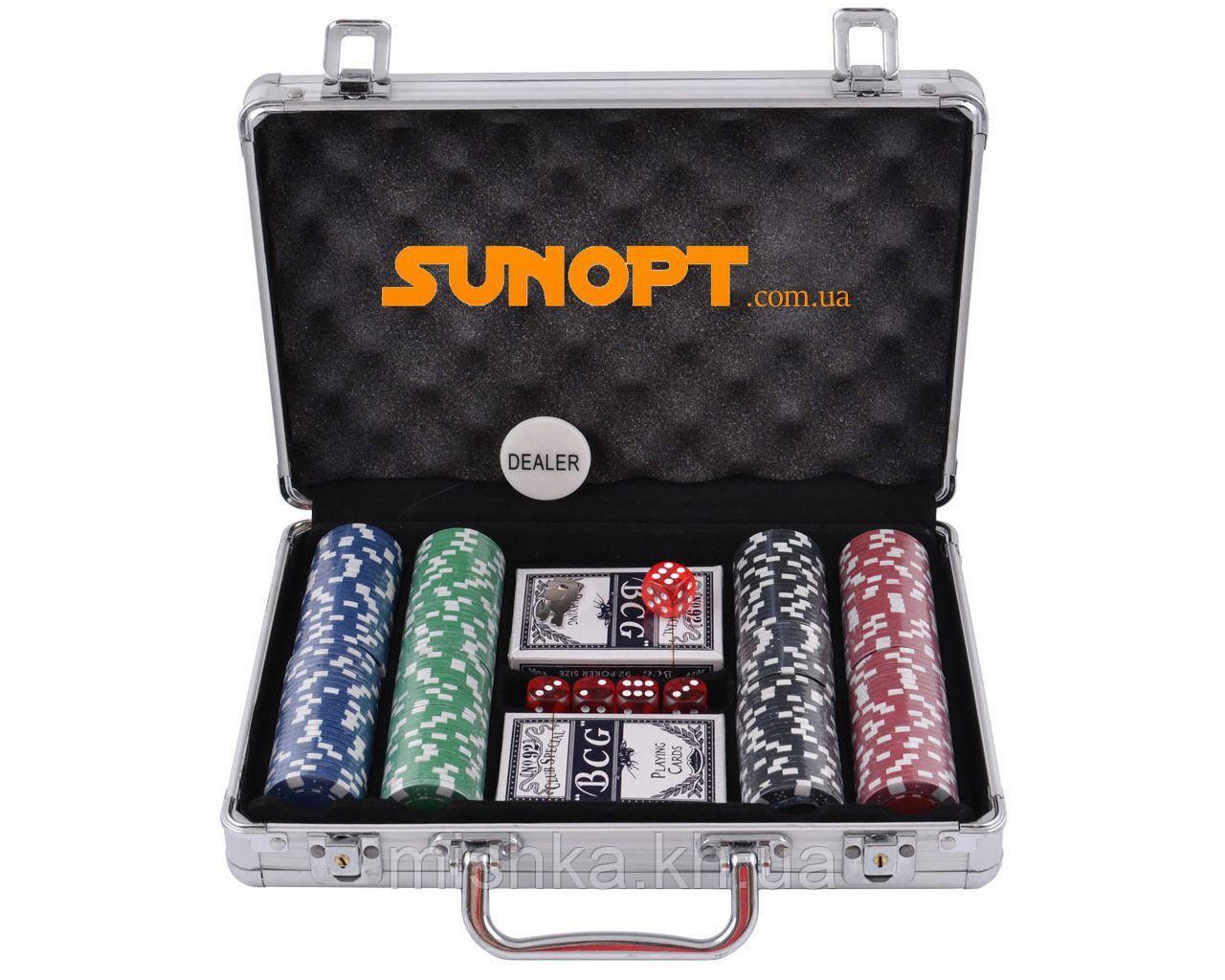 Покерний набір в алюмінієвому кейсі на 200 фішок №200