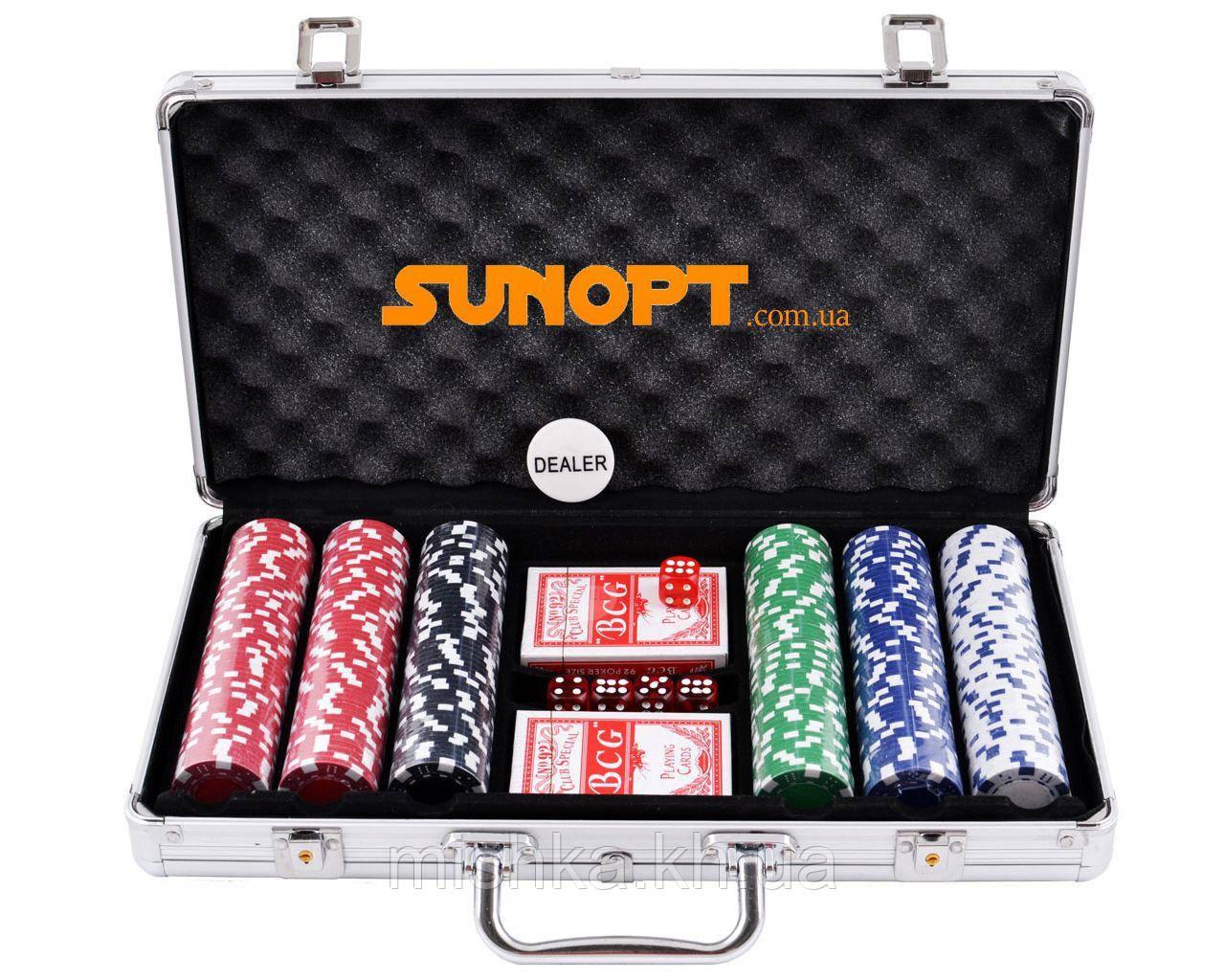 Покерний набір в алюмінієвому кейсі на 300 фішок №300