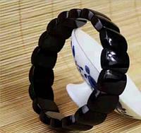 Черный натуральный турмалиновый браслет унисекс ОРИГИНАЛ Камень шерл 50 грамм + Сертификат